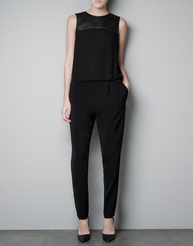 2013 ZA** New  Women's O-neck Leather Sleeveless Chiffon Jumpsuits, freeshipping