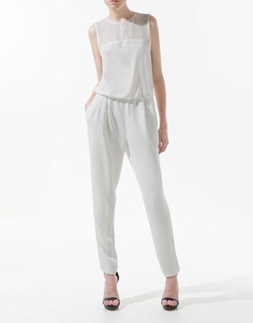 2013 ZA** New  Women's O-neck  Sleeveless See-through Chiffon Jumpsuits, freeshipping