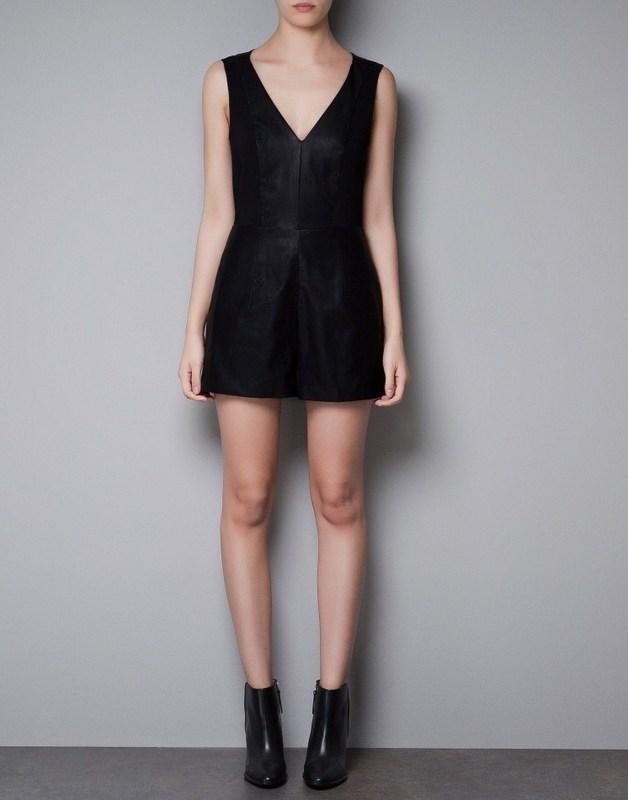 2013 ZA** New  Women's V-neck Leather Sleeveless Knitted Short Jumpsuits, freeshipping