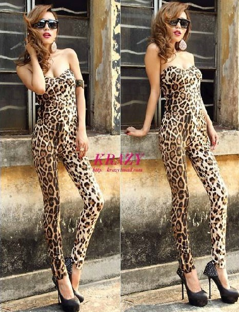 2013New Women's Off Shoulder Backless Sexy Leopard Clubwear Party Skinny Wrapped Chest Jumpsuit Romper Size S Free Shipping6006