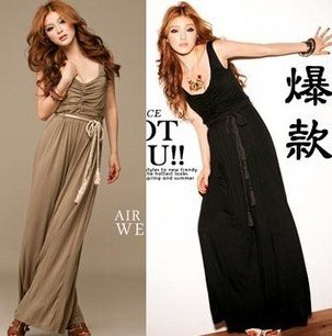 2144# dress Bohemian style sleeveless vest super wide leg Jumpsuit
