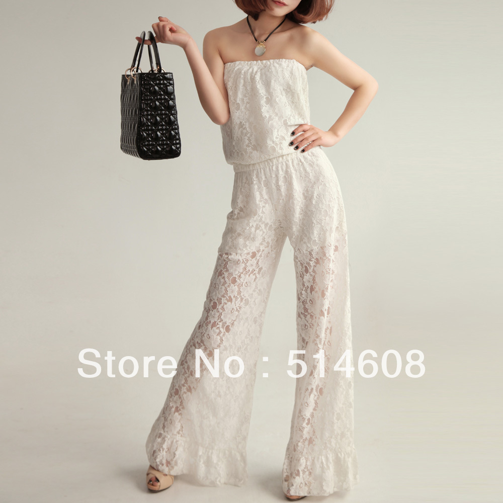 #2195 High-grade exported quality Lace white princess elegant slim sweet all-match fashion jumpsuit bodysuit