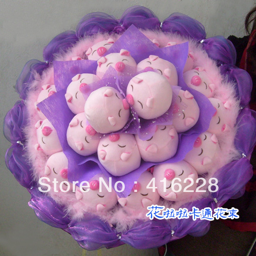 22 pig cartoon doll bouquet creative birthday Valentine's Day gifts free shipping W656