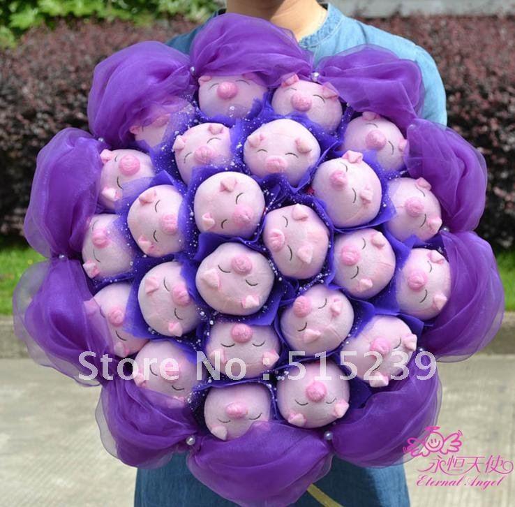 24 little pigs cartoon bouquet creative gift wedding supplies//birthday gift/wedding bouquet+free shipping X12