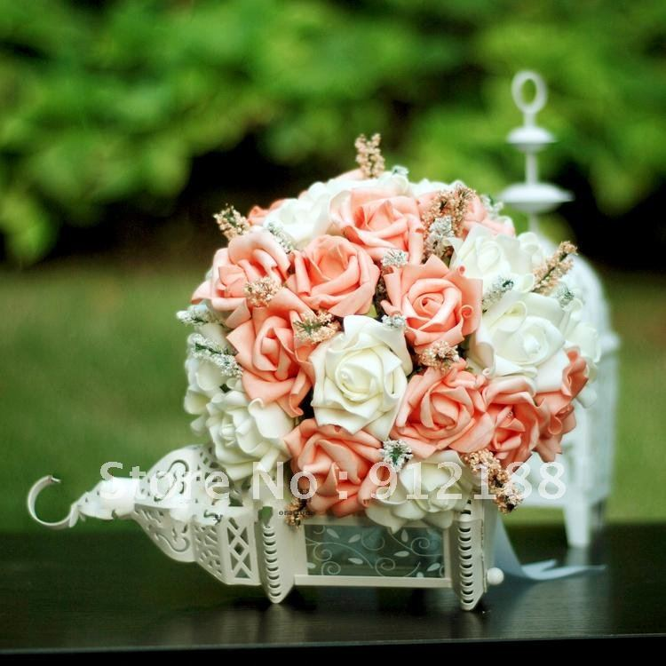 24*Roses Champagne+Milk white bouquets,23cm wedding bridal bouquets ON SALE 4PCS/LOT