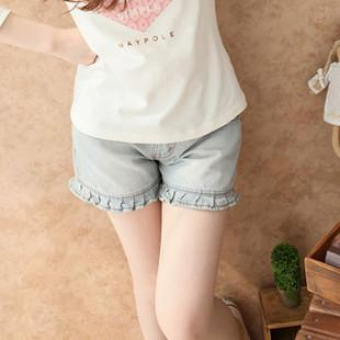 2g maternity   clothing summer ruffle  shorts denim  capris knee-length pants shorts