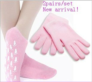 2pairs Moisturize Soften Repair Whiten Skin Moisturizing Treatment Gel SPA gloves socks Skin care best gift Free Shipping