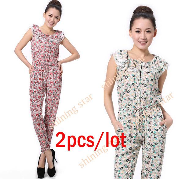 2pcs/lot Fashion Elegant Women's Jumpsuit Button Flower Sleeveless Romper S M L hot sale S11228