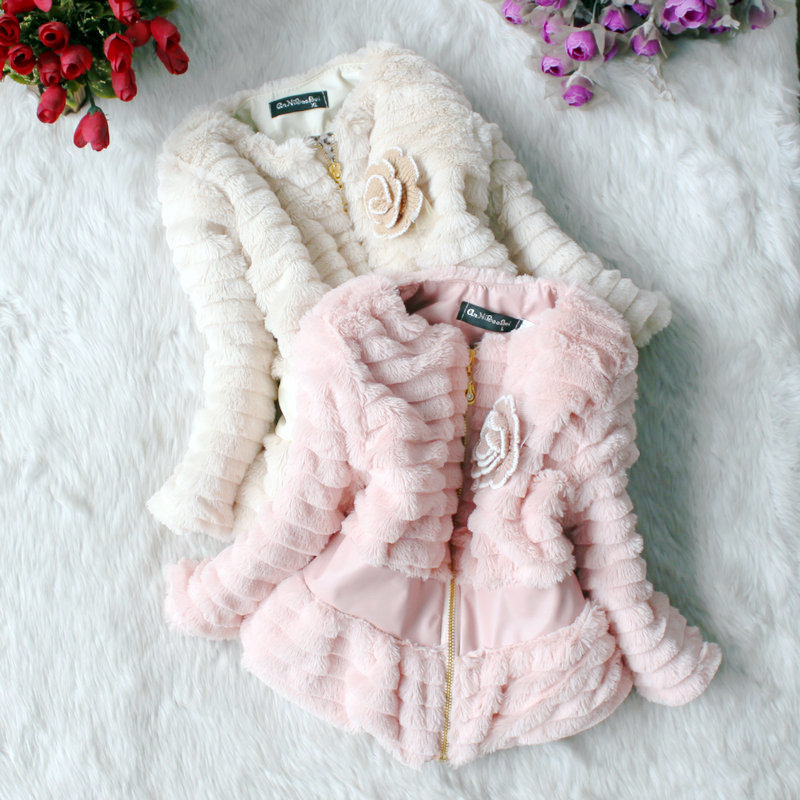 3-6 years baby 3 sizes winter/autumn Korean style girl's thickening jacket/coat(beige, pink), cheap garment for kid girl