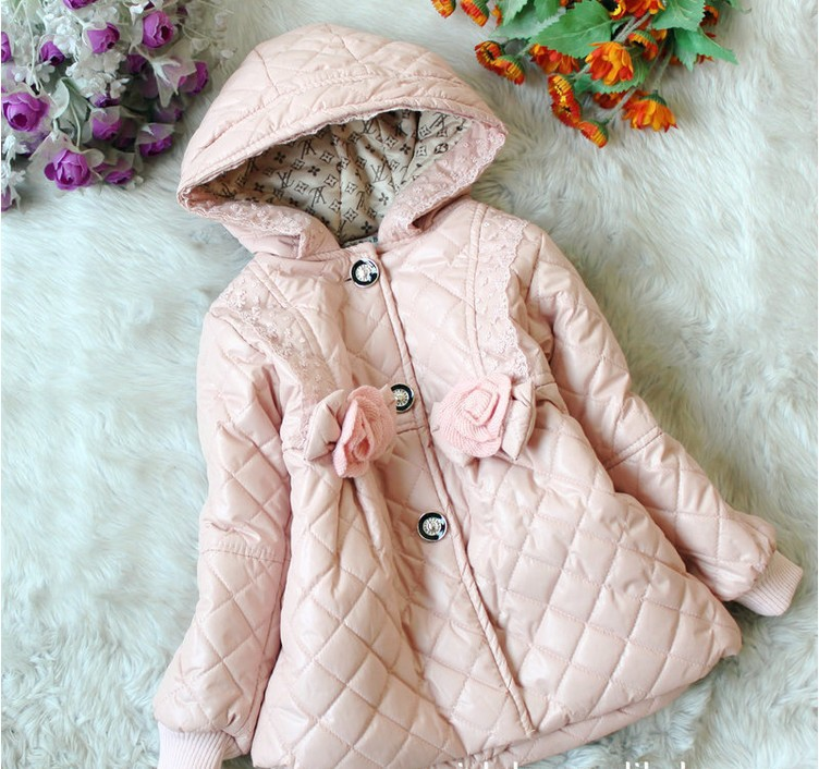 3-6 years baby girls pink cotton winter hooded jacket/coat, fashionable Korean style winter hooded outerwear for girl kid