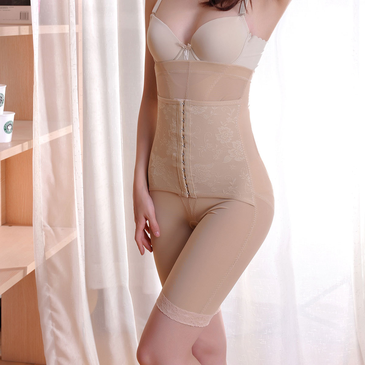 3 front button elastic super-elevation waist abdomen drawing pants butt-lifting body shaping pants corset for slimming