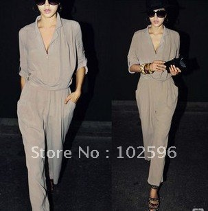 30% OFF,Free Shipping,New Fashion Women's Chiffon Haroun Jumpsuits,Nice Style,Grey,Wholesale/Retail