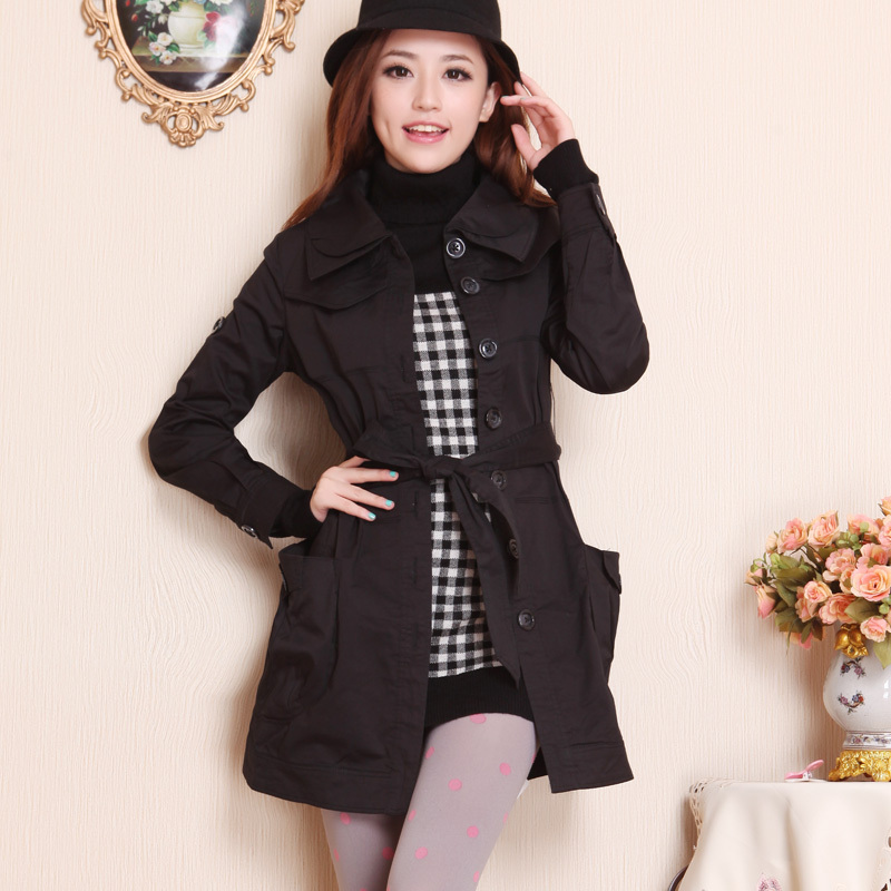 31040801 gj autumn single breasted solid color long-sleeve slim trench , Free Shipping