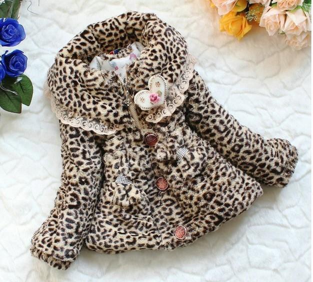 3pcs/lot baby girls winter coat fashion leopard fur outwear children top clothes free shipping