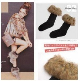 3pcs/lot Classic long-haired fur flanging snow, fall and winter socks, plush socks