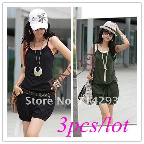 3pcs/lot Free shipping Fashion Women's Sleeveless Romper Strap Short Jumpsuit Scoop 3 Colors White, Black,Purple 3168