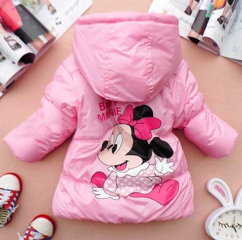 4 pcs Best Selling Children Kids Clothing Girls Cartoon Coat Parkas  girl minnie mouse Jacket AA167