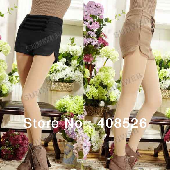 4pcs/lot New Casual Black, Camel Women Shorts Double-breasted Empire-waist Woolen Winter Shorts M,L free shipping 9329