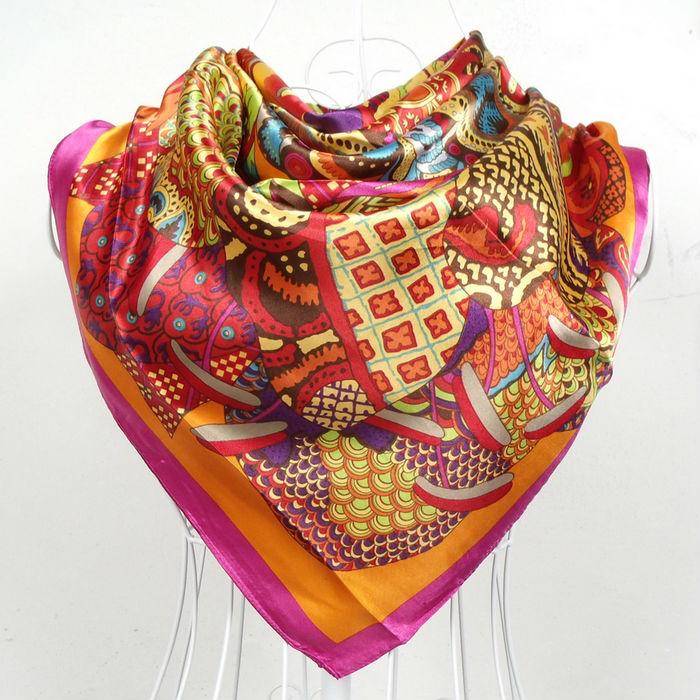 $ 5.04 Free shipping ! New Arrival 90*90cm fashion hot sale New style orange satin silk scarf, big square scarf/ wraps