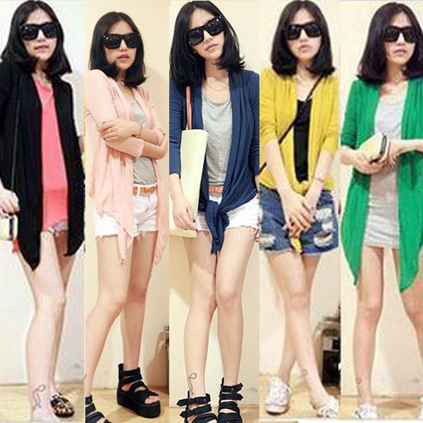 5 Colors Fashion Womens Long Sleeve Plain Cropped Open Cardigan Tops Jacket A841
