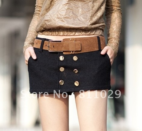 $5 off per $50 order hot selling autumn fashion woolen double breasted women's shorts culottes free shipping