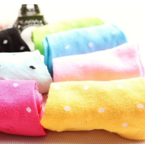 50 Pairs/lot Wholesale 2012 Newest A39 Women Cute Pure Candy Color Dot Short Sock Fit For 34-39 Yards Casual SOX Free Shipping