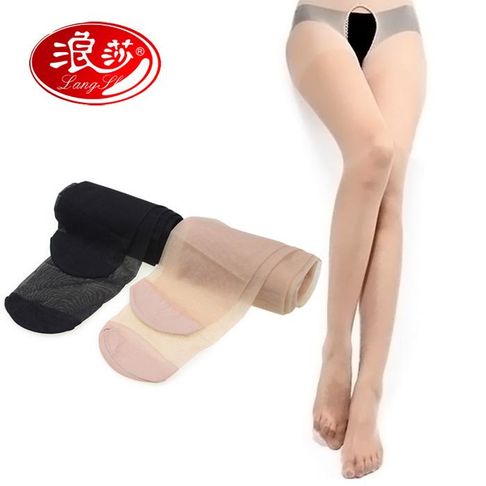 5pairs/lot LANGSHA brand Core-spun Yarn  Ultra-thin open crotch sexy pantyhose thin sild stockings,free shipping