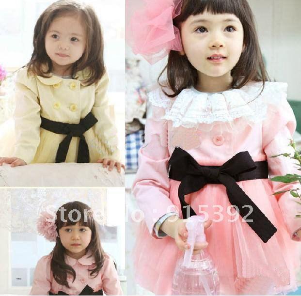 5pcs Children's autumn outwear baby long-sleeved Windproof coat,girl's Tutu dress jacket with bow belt,girls' windbreaker