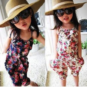 5pcs girl's summer flowers suspender rompers pant kids floral Jumpsuits overalls girls summer bodysuits white navy free shipping