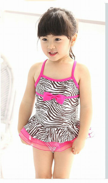 5pcs/lot Baby Girls Zebra swimwear Baby Swimwear+Hat L1387