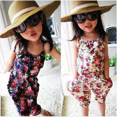5pcs/lot hot kids girls flower suspender pants baby girl's summer Jumpsuit children overalls loose bodysuit baby beach wear