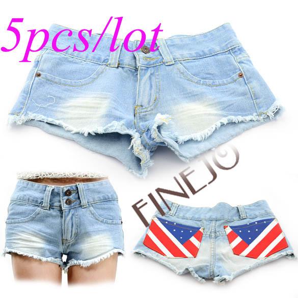5pcs/lot New Sexy Women's Jeans Shorts Denim Waist Hot Pants Casual 3 Sizes Light Blue Free Shipping 5353