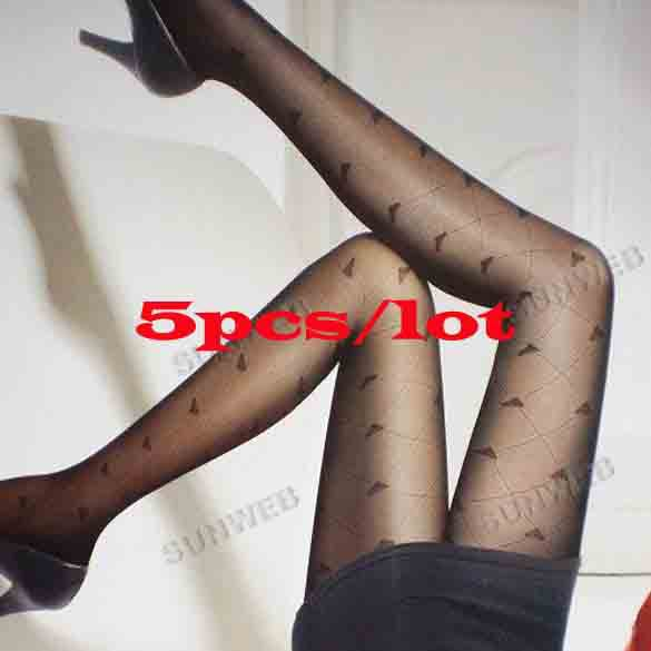 5pcs/lot Trendy Sexy Loving Heart Pattern Temptation Sheer Pantyhose Tights Stockings Leggings free shipping 10281