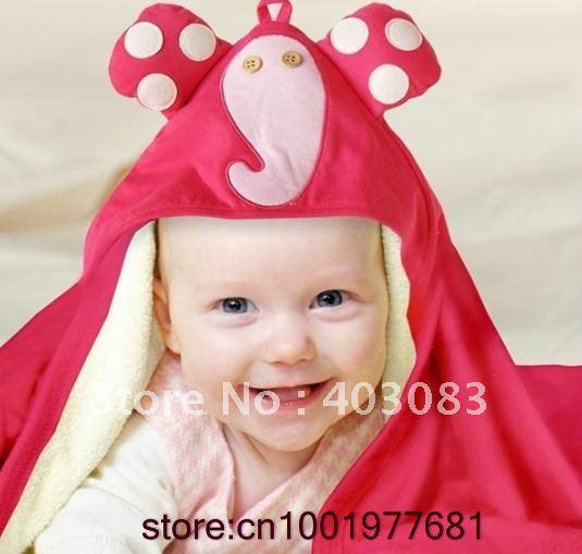 5pecs/lot 2012 OEM Pink Elephants Animal Babies Bathrobes Bath Towels Cartoon Robes
