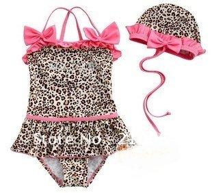 5sets girl bikini cover-ups one-pieces Leopard pink bowtie swimwear girls bikini+cap two-pieces/set