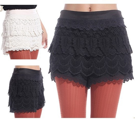 5size Very high quality all-match/elegant ladies lace shorts party/club/casual/holiday, plus size skirt/culottes/short women