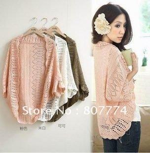 6 Colors 2013 Spring New Fashion Korea Women Hollow Sweater Shawl Shrug Jacket Knitwear Cardigan FREE SHOPPING