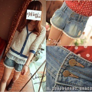 605 small to play high waist wild lace washing white denim shorts shorts