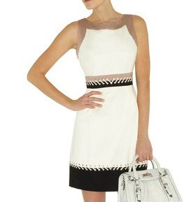 60s Color block dress with lacing   ,free shipping