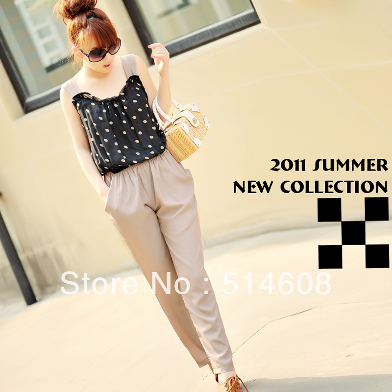 #685 Exported quality chiffon summer polka dot suspenders casual jumpsuit bodysuit 3 sizes