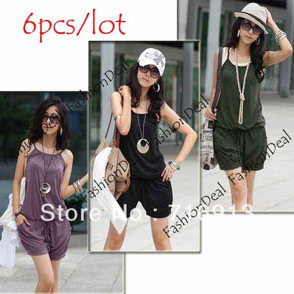 6pcs/lot 2013 New Women Fashion Sleeveless Romper Strap Short Jumpsuit Scoop Three Color Free Shipping 3168