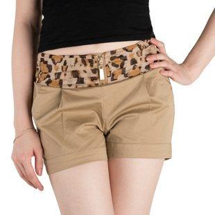 8 summer lady mid elastic  waist  fashion leopard belt shorts