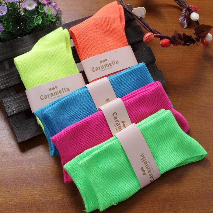 8263 zipper socks neon color knee-high 100% cotton socks