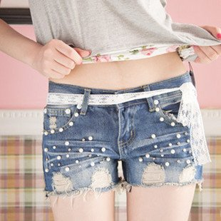 8306 # gorgeous pearl hole in the Department of decorative lace with denim shorts