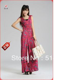 #892 Exported quality Modal double V-neck slim waist jumpsuit bodysuit