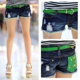 91,102,012 new hole in the stream of summer patch fringe thin denim shorts shorts straight jeans