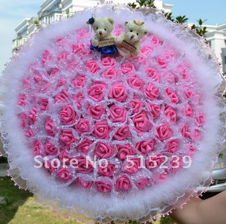 99 flower simulation creative rose cartoon bouquet sweethearts birthday gift/Wedding Bouquet/party gift+free shipping  D929
