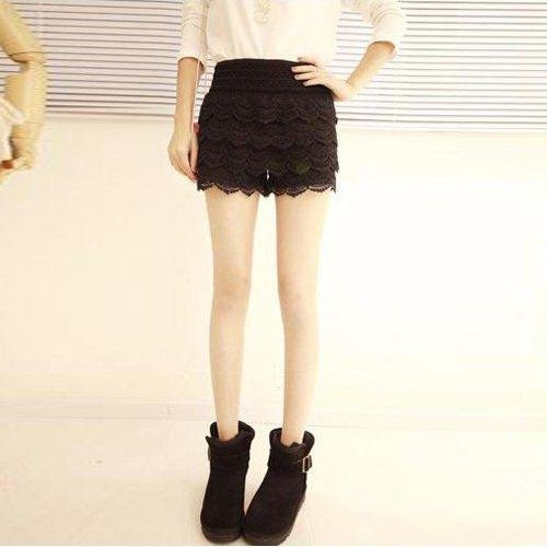 9921  lace shorts - Black ( 160g)