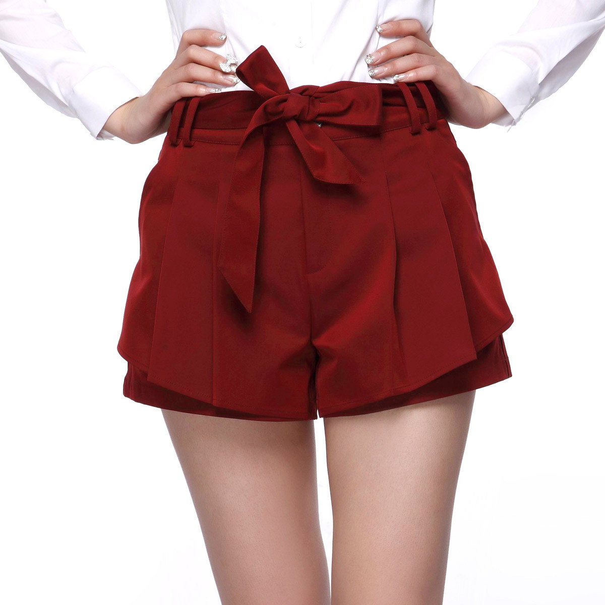 A free shipping 2012 spring and autumn women's youoccasionally bow lacing slim personalized shorts