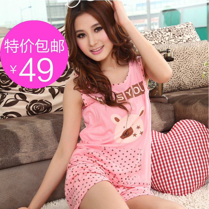 A free shipping Cartoon vest sleepwear female summer 100% cotton lounge female 100% cotton summer sleeveless sleep set female